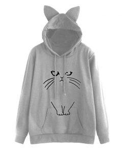Cat Print Cute Hoodie DB