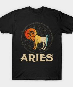 Vintage Retro Aries Zodiac Born March April T-Shirt DB