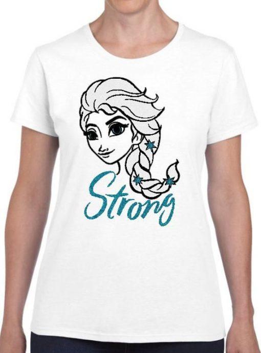 Ladies Inspirational Sparkle Glitter Disney Frozen Elsa Strong T-Shirt DB