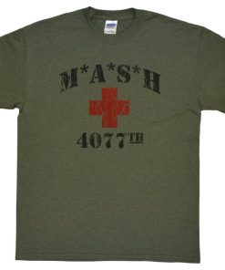 MASH 4077th tv Division Vintage Style Distressed citcom Heather Military Army Green T-Shirt DB