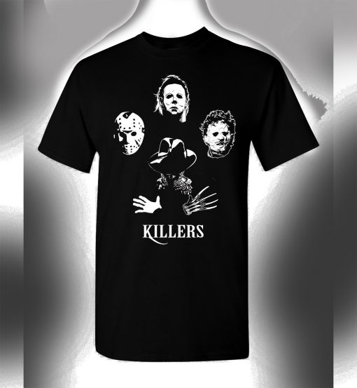 Details about Killers T-Shirt Jason Freddy Michael Myers Leathersface Queen T-Shirt DB