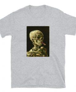 Vincent Van Gogh Skull With Cigarette Skeleton Impressionist Unisex T-Shirt