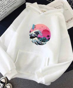 Graphic Japanese Wave Print Hoodie